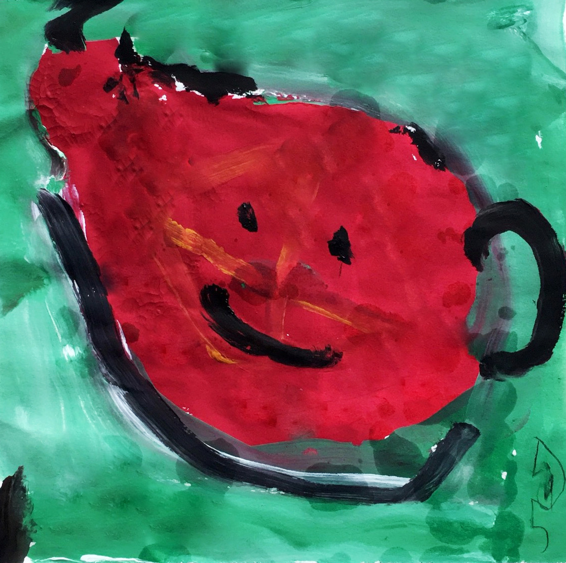 高郅祥儿童画作品-水壶(水粉画)