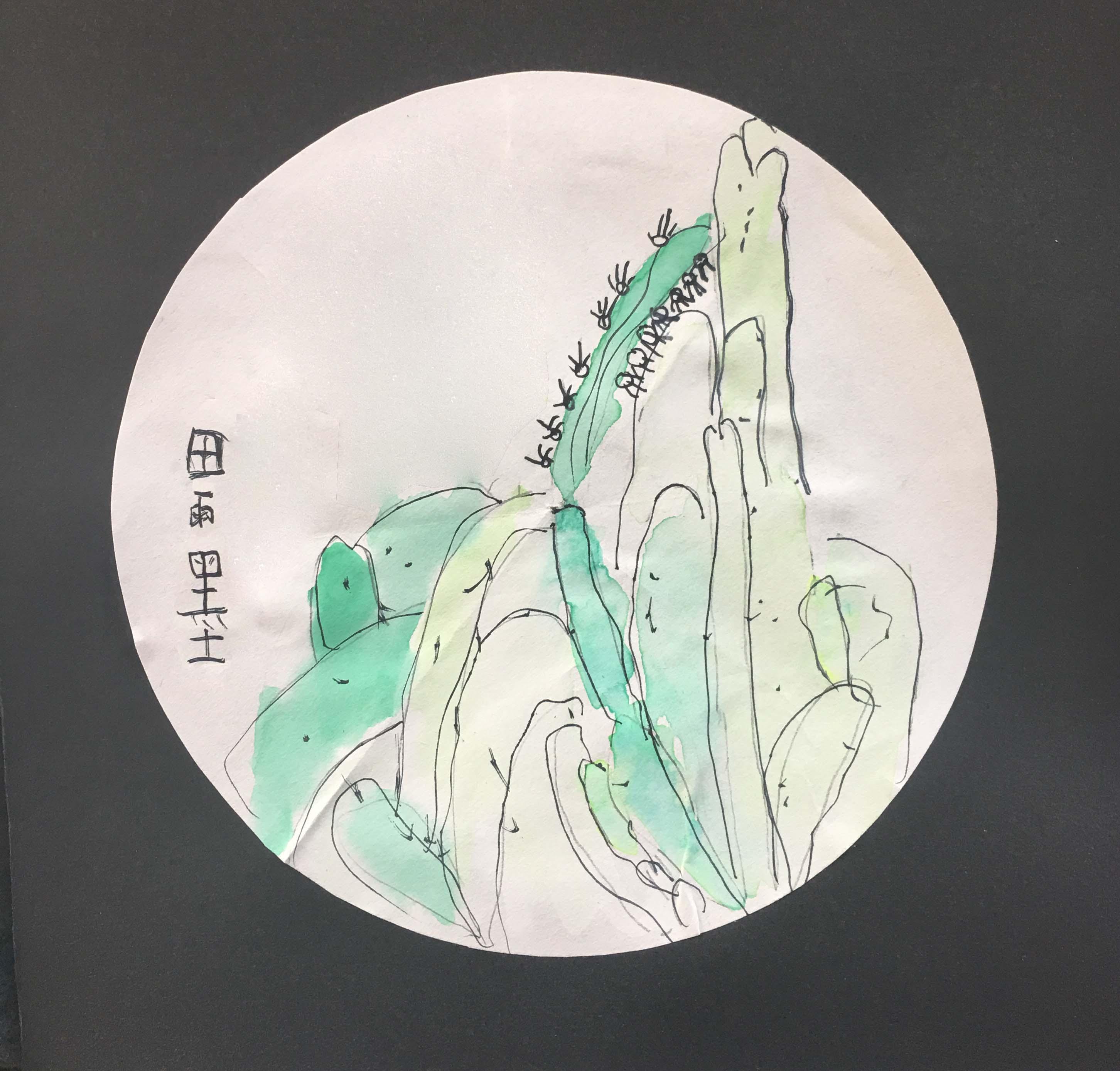 田雨墨-仙人掌(水彩画)